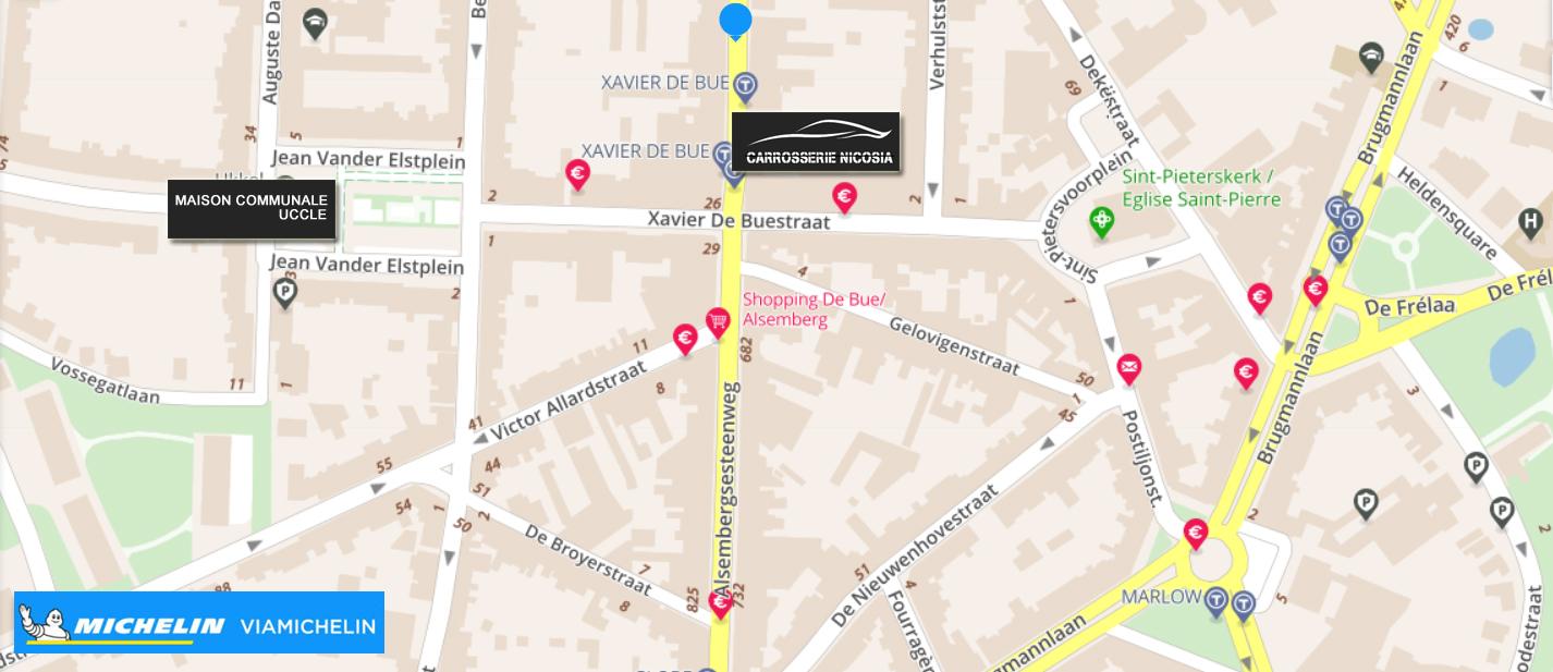 Localisation de la Carrosserie Nicosia - Plan Uccle